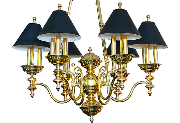 Sold - Victorian Style Brass Chandelier With Black Shades .
