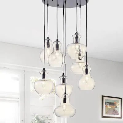 Home Accessories Inc 8-Light Black Modern/Contemporary Clear Glass .