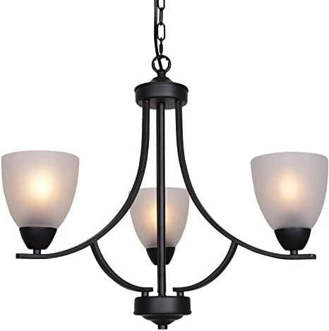 Amazon.com: VINLUZ 3 Light Shaded Contemporary Chandeliers with .