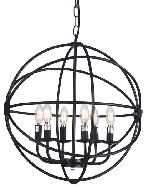 "Raekor 20"" Modern Round Sphere Black Iron Wire Frame Hanging ."