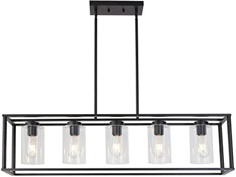 Amazon.com: VINLUZ Contemporary Modern Chandeliers Rectangle Black .