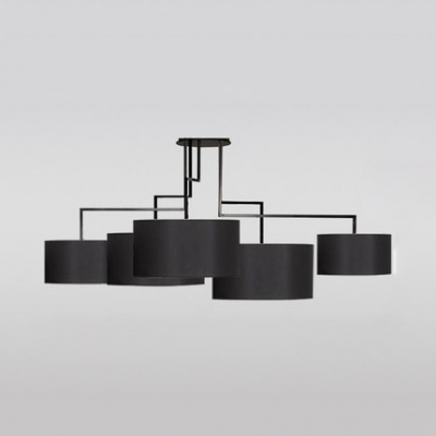 Fabric Drum Shade Pendant Lamp Living Room 5 Lights Contemporary .