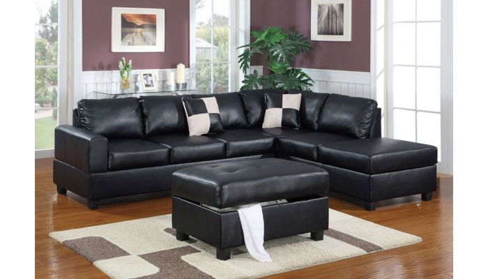 Belmont Black Leather Sectional With Ottom