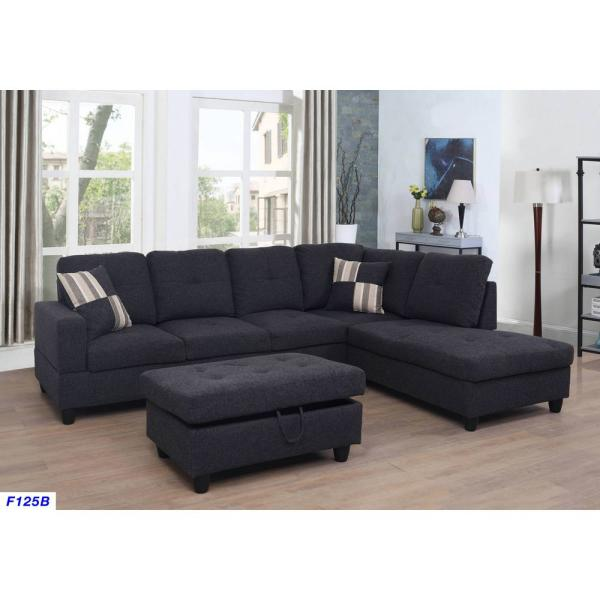 Star Home Living Black linen Left Chaise Sectional with Storage .