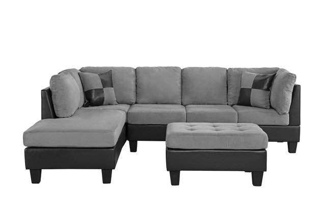 Microfiber and Faux Leather 2 Tone Sectional Sofa, Reversible .