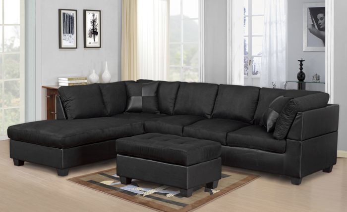 MODERN 2 PCS CYPRESS BLACK COLOR SECTIONAL SOFA AND CHAISE SET .