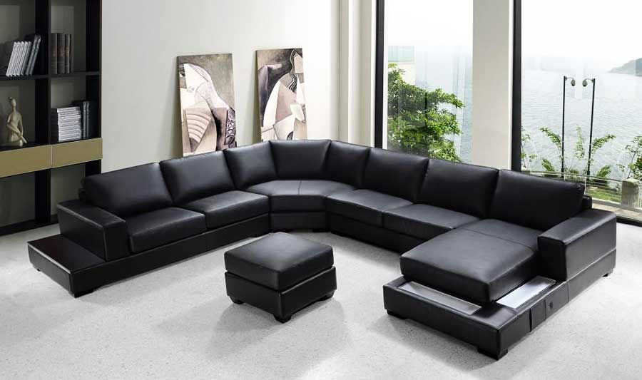 VG-RZ Modern Black Sectional Sofa | Leather Sectiona