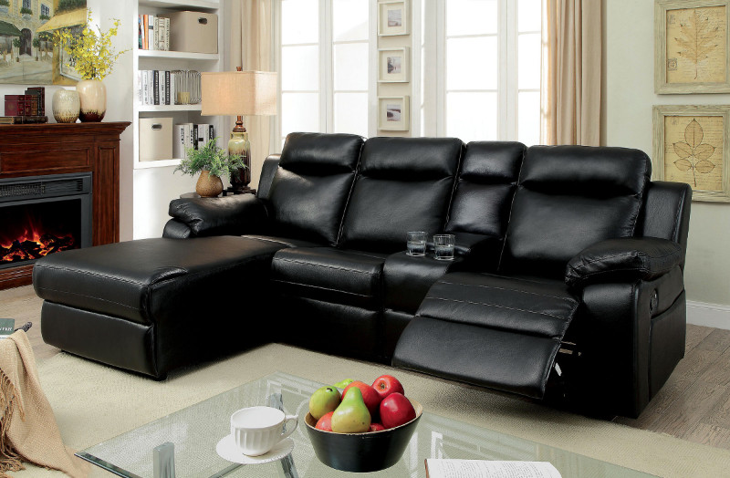 CM6781BK 2 pc hardy black faux leather sectional sofa with chaise .