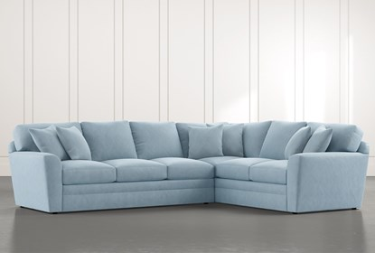 Prestige Foam Light Blue 2 Piece Sectional With Left Arm Facing .