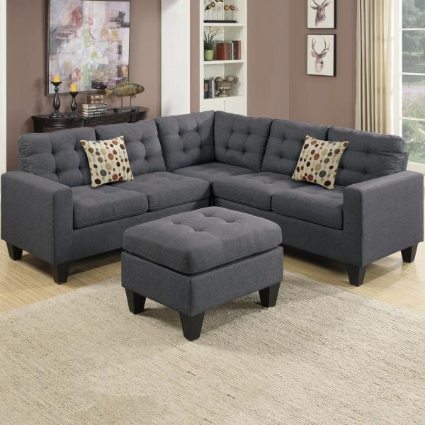 Venetian Worldwide Milan 5-Piece Blue/Gray Fabric 4-Seater L .