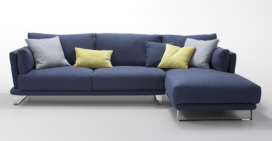 Modern Dark Blue Fabric Sectional Sofa - Lucas | Fabric Sectional .