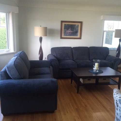 Bring together grey/blue sofa and accent chai