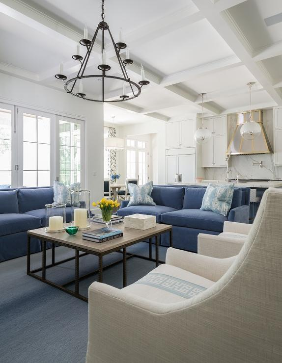 Blue Sofas with Linen Greek Key Accent Chairs - Transitional .