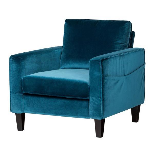 South Shore Live-it Cozy 1-Seat Velvet Blue Sofa-100305 - The Home .