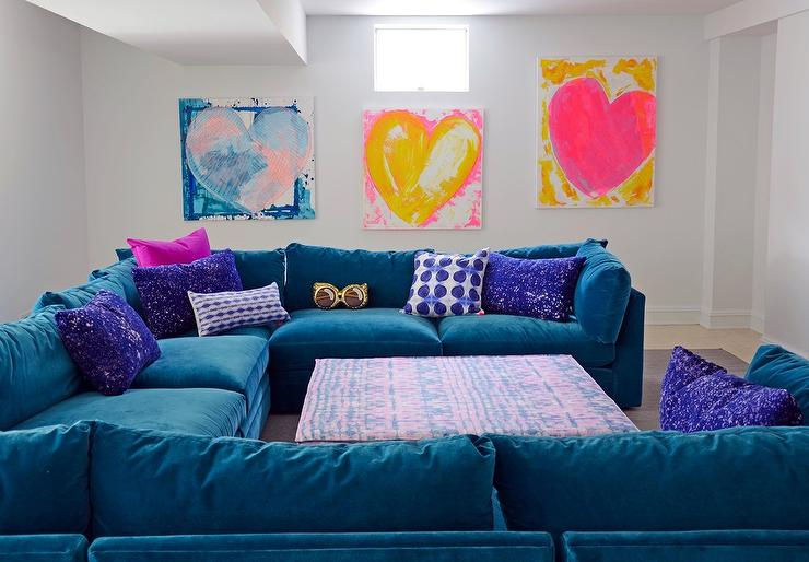 Blue Velvet Sectional with Purple Space Pillows - Contemporary .