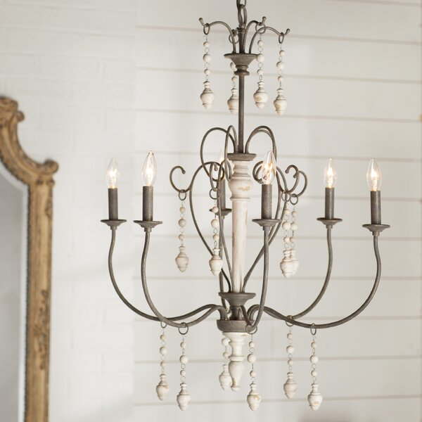 Bouchette 6 - Light Candle Style Classic / Traditional Chandelier .