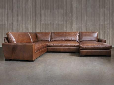 "Braxton Leather ""L"" Sectional Sofa with Chaise :: Leather."