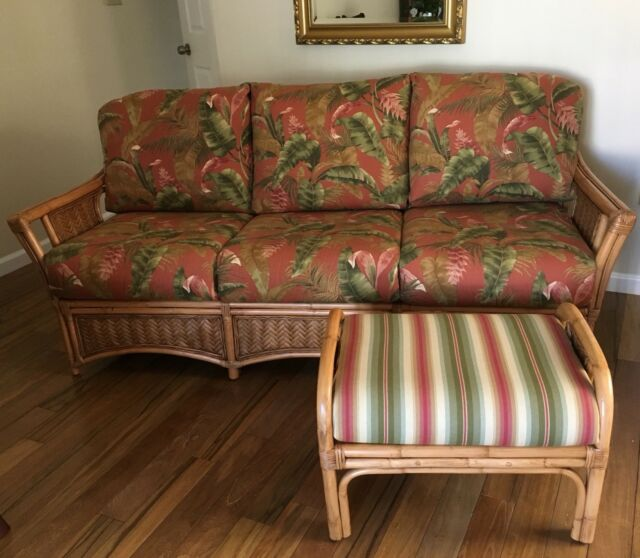 Braxton Culler Wicker Rattan Bamboo Sofa With Ottoman Honey .