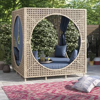 Bungalow Rose Brennon Cube Patio Daybed with Cushions & Reviews .
