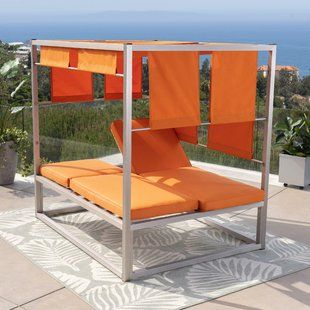Bungalow Rose Brennon Cube Patio Daybed with Cushions | Wayfair .
