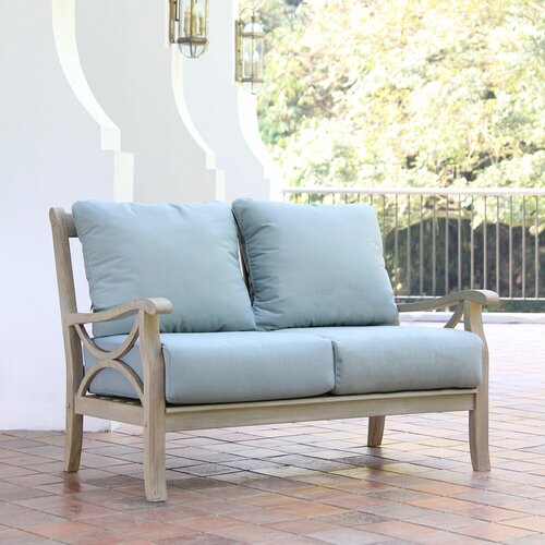 Birch Lane™ Heritage Brunswick Teak Patio Chair with Cushions .