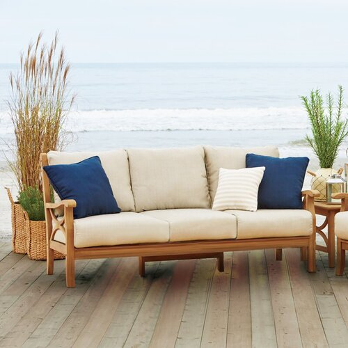 Brunswick Teak Patio Sofa with Cushions & Reviews | Joss & Ma