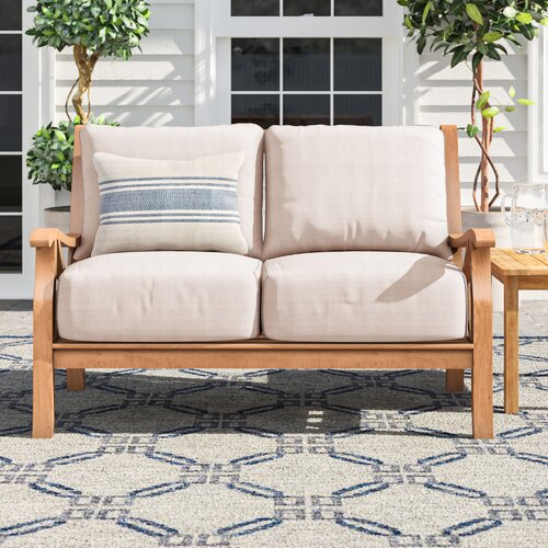 Brunswick Teak Patio Sofa with Cushions & Reviews | Birch La