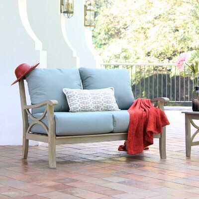 Birch Lane™ Heritage Brunswick Teak Loveseat with Cushions Frame .
