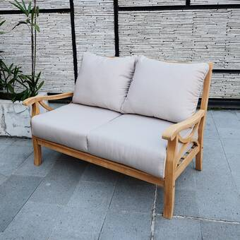 Birch Lane™ Heritage Brunswick Teak Loveseat with Cushions .