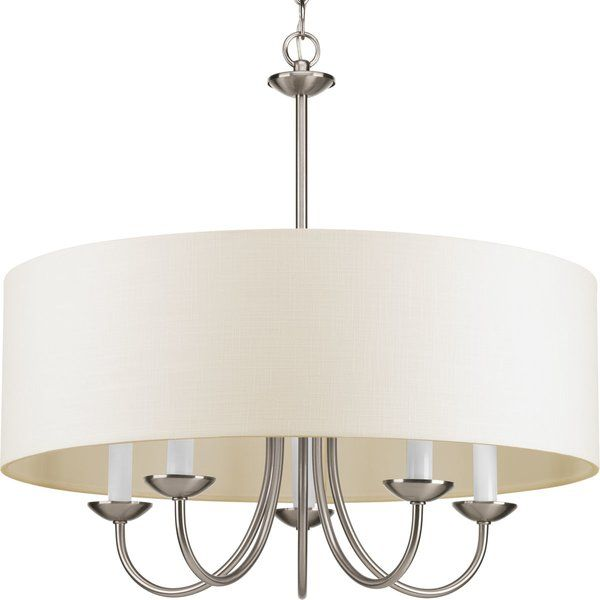 Burton 5 - Light Shaded Drum Chandelier | Drum shade chandelier .