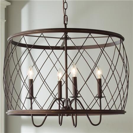 Trellis Cage Drum Chandelier - Large | Drum shade chandelier, Cage .