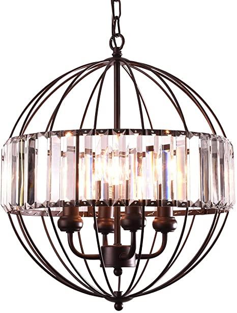 mirrea Vintage Metal Cage Crystal Chandeliers Pendant Lights Oil .