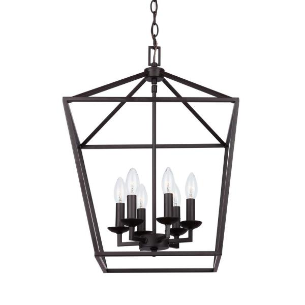 Home Decorators Collection Weyburn 6-Light Bronze Caged Chandelier .