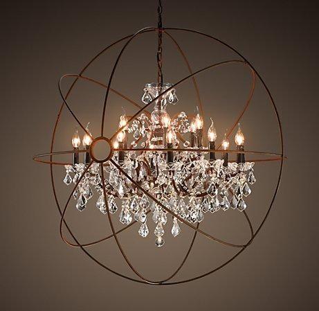 Caged chandelier. Restoration Hardware. | Orb chandelier .