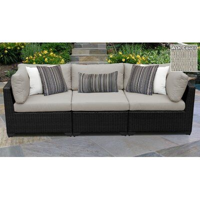 Rosecliff Heights Camak Patio Sofa with Cushions Cushion Color .