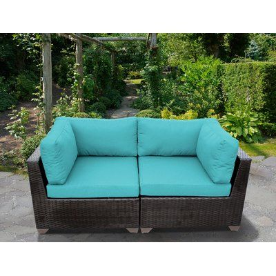 Sol 72 Outdoor Fernando Patio Loveseat with Cushions | Outdoor .