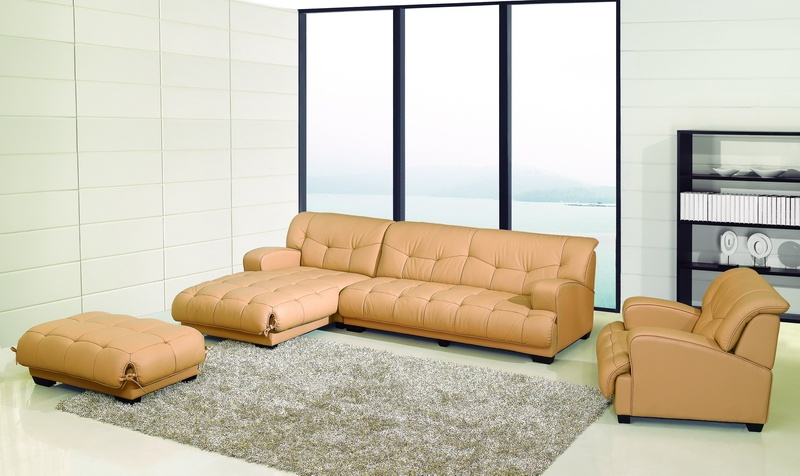 Modern Camel Bonded Leather Chaise Sectional Sofa Set Chair .