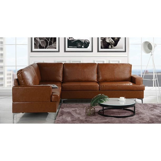 "Upholstered 103.9"" inch Leather Sectional Sofa, L-Shape Couch ."