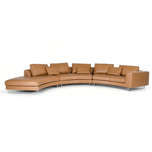 Divani Casa Tulip Modern Camel Leather Sectional Sofa-Color:Camel .