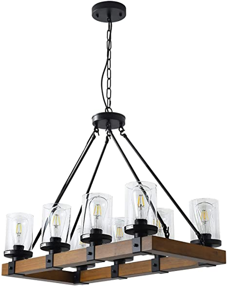 8-Light Farmhouse Wood Kitchen Island, Wood Chandeliers, Candle .