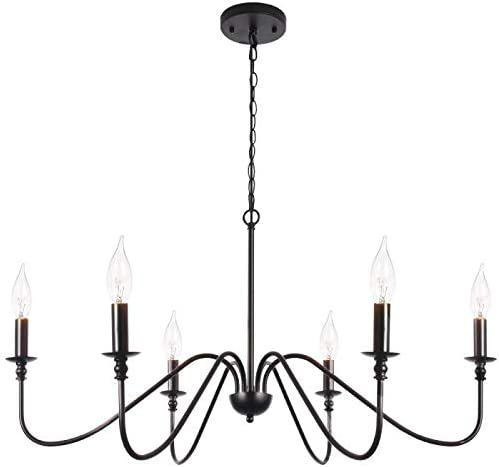 T&A Black 6-Light Chandeliers, Classic Candle Ceiling Pendant .