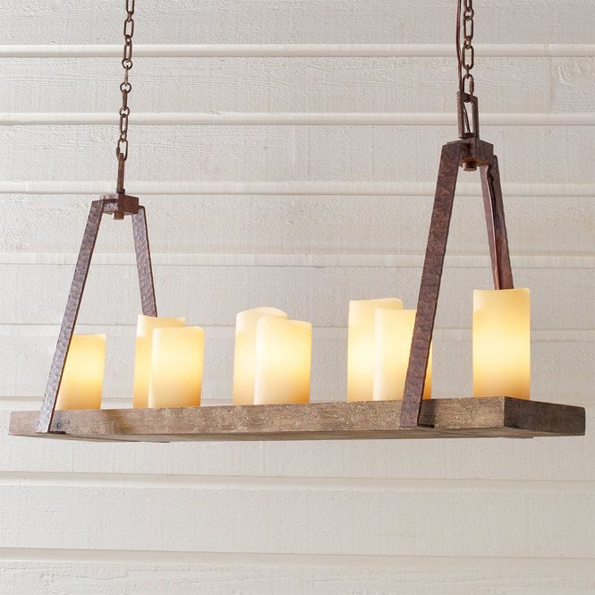Rustic Plank Candle Island Chandelier | Faux candle chandelier .