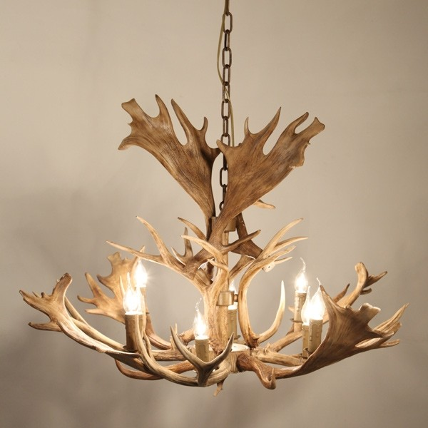 "Faux Antler 43"" Wide Rustic Cascade Antler Chandelier 8 Candle ."