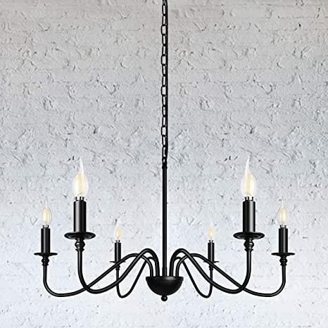 Black Farmhouse Chandelier 6-Light Industrial Candle Ceiling .
