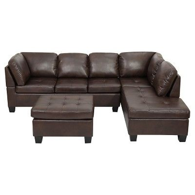 Canterbury 3-piece Faux Leather Sectional Sofa Set - Brown .