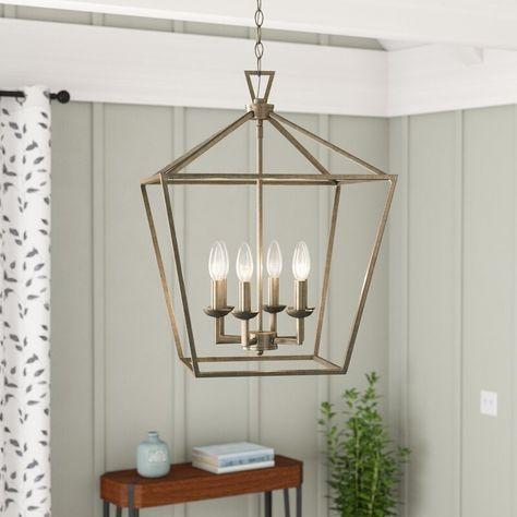 Carmen 6 - Light Lantern Geometric Chandelier | Foyer decorating .