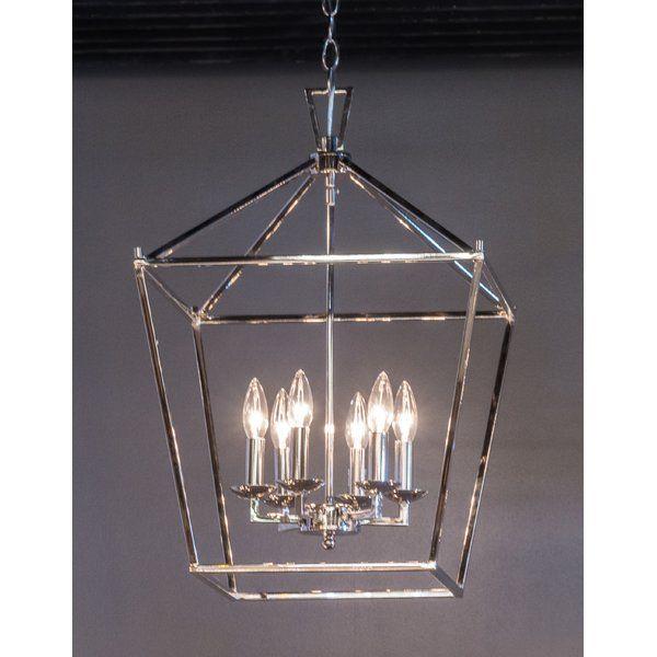 Carmen 6 - Light Lantern Geometric Chandelier | Foyer lighting .