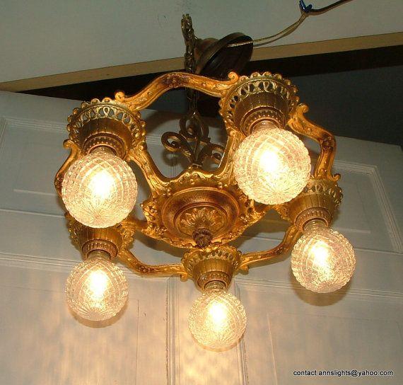 Vintage Cast Iron Antique Markel Lighting Hanging Ceiling Light .