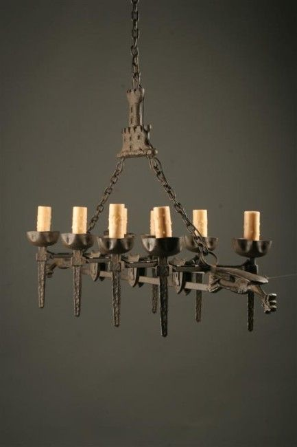 French eight arm cast iron antique chandelier | Iron chandeliers .