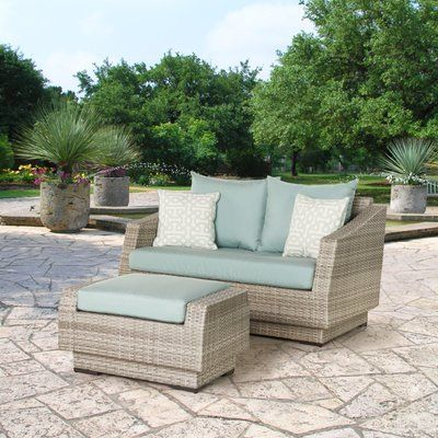 Wade Logan Castelli Loveseat and Ottoman with Cushions | Outdoor .